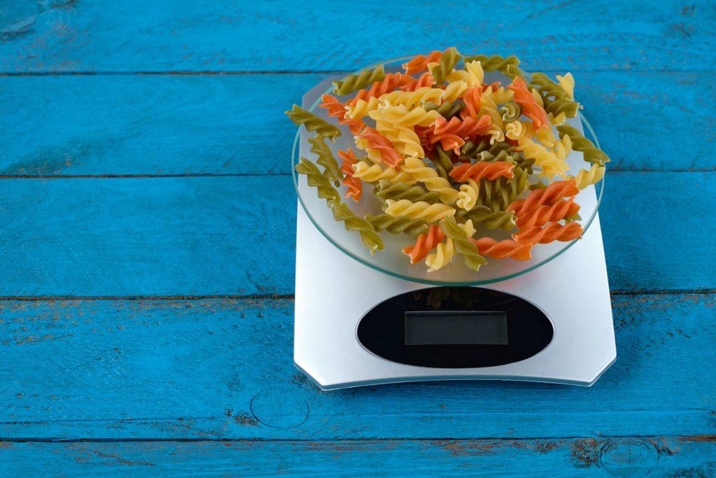 Pasta spirals on scales