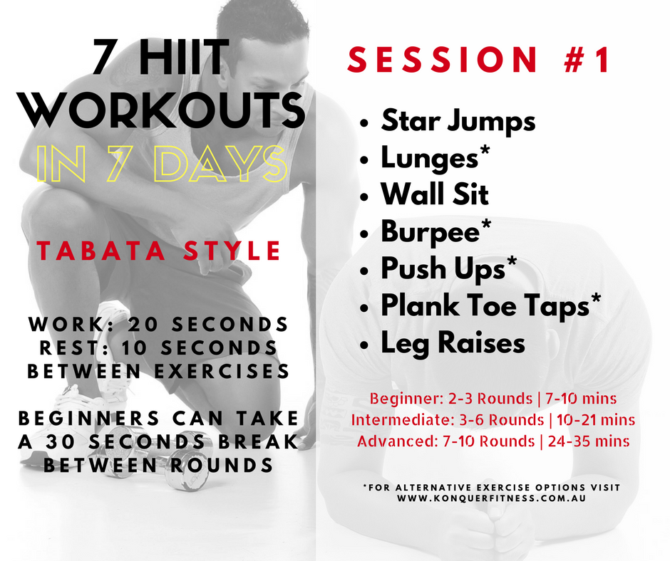 Gym Junkie Towel: DAY 1: 7 Tabata Inspired HIIT Workouts In 7 Days